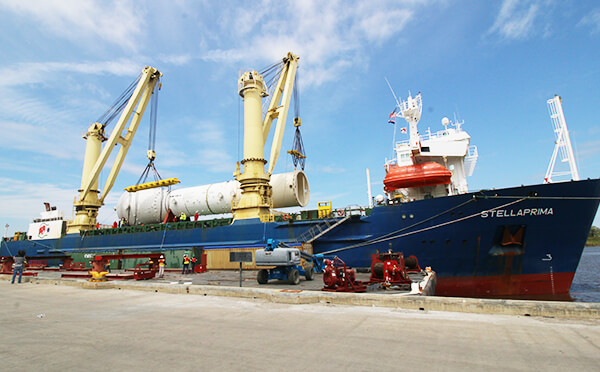ship being unloaded at the gulf coast port, the port of lake charles, located on the calcasieu ship channel